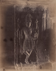 Sculpture of a dvarapala (temple guardian), Chandranatha Basti, Bhatkal